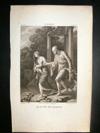 After A. Werff C1810 Antique Print. La Fuite en Egypte